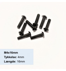 M4x16mm Sort Button Head skrue - elgalvaniseret ISO 7380 - Pose med 8stk.